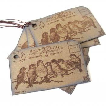 Post Card Birdie Tags