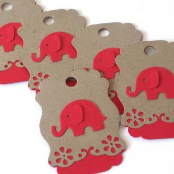 Kraft Red Elephant Tags