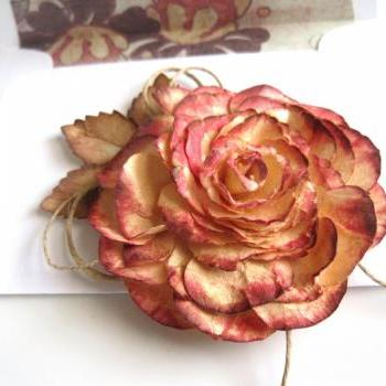 Shabby Chic Peach Paper Rose