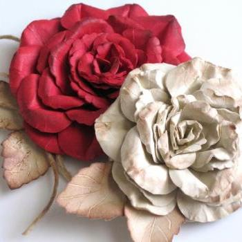 Shabby Chic Paper Rose Set
