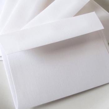 4 Bar  White Linen Envelopes 3 5/8 x 5 1/8